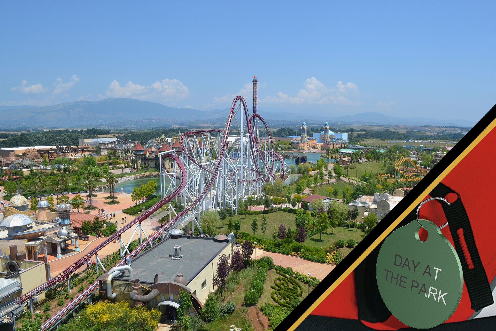 Overview of an amusement park with a focus on a personalized souvenir gift