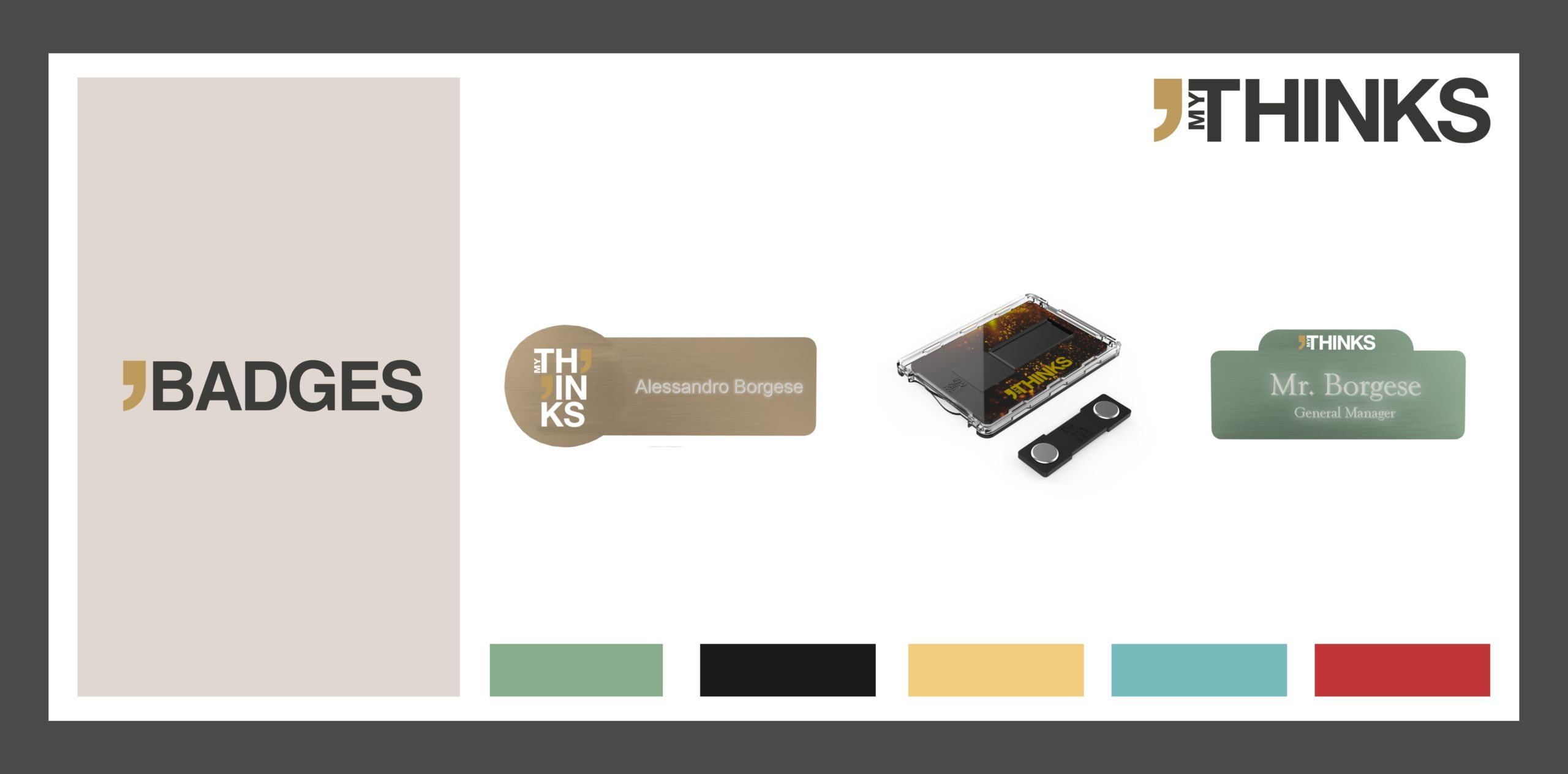 3 different name badge shapes from the Badges collection : rectangular with left round location for logo, rectangular with its packaging, rectangular with upper location for logo