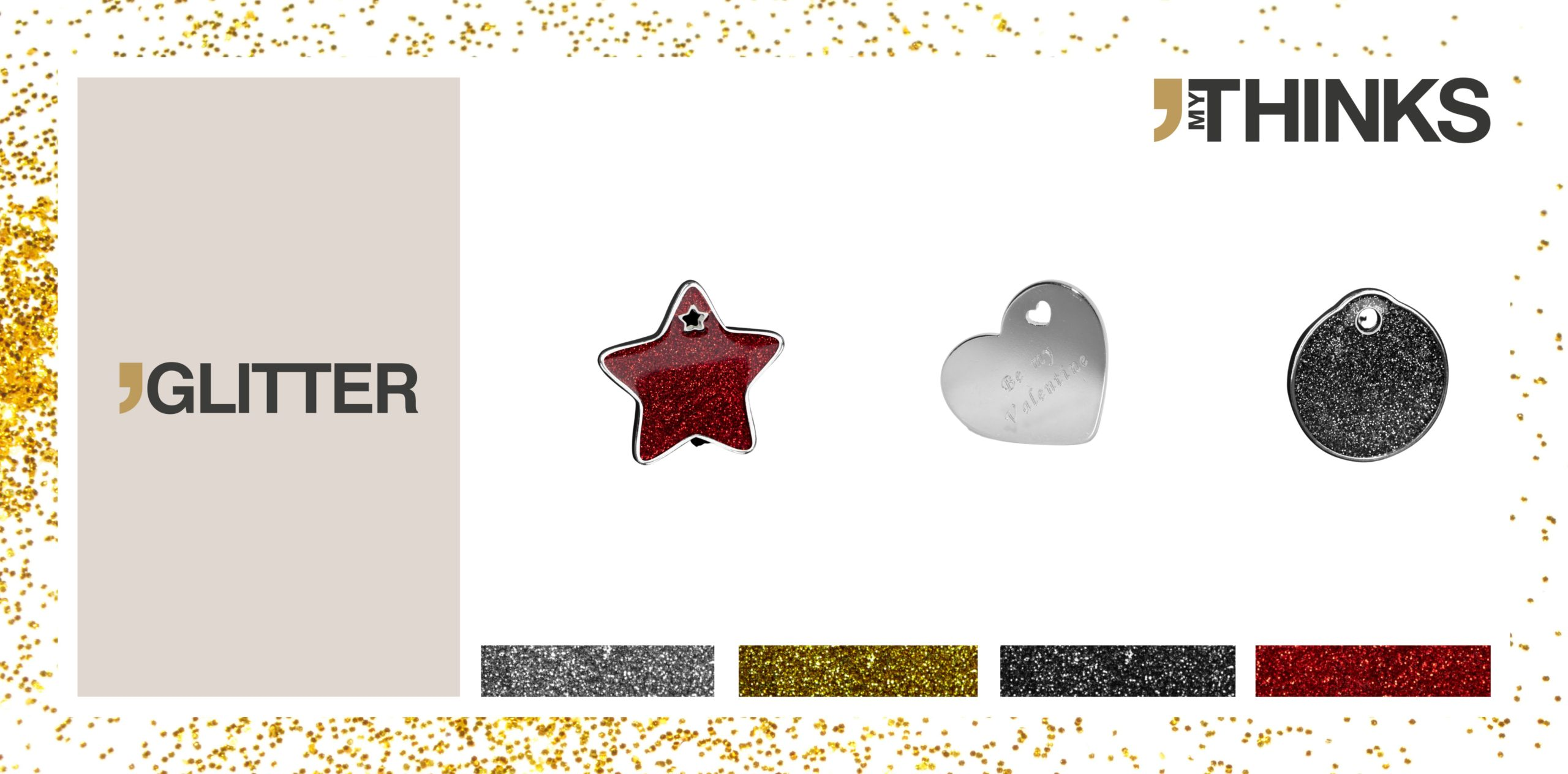 3 personalized gifts in enameled chromed zamak from glitter collection : red glitter star charm, heart medal backside personalized with diamond engraving, black glitter circle tag