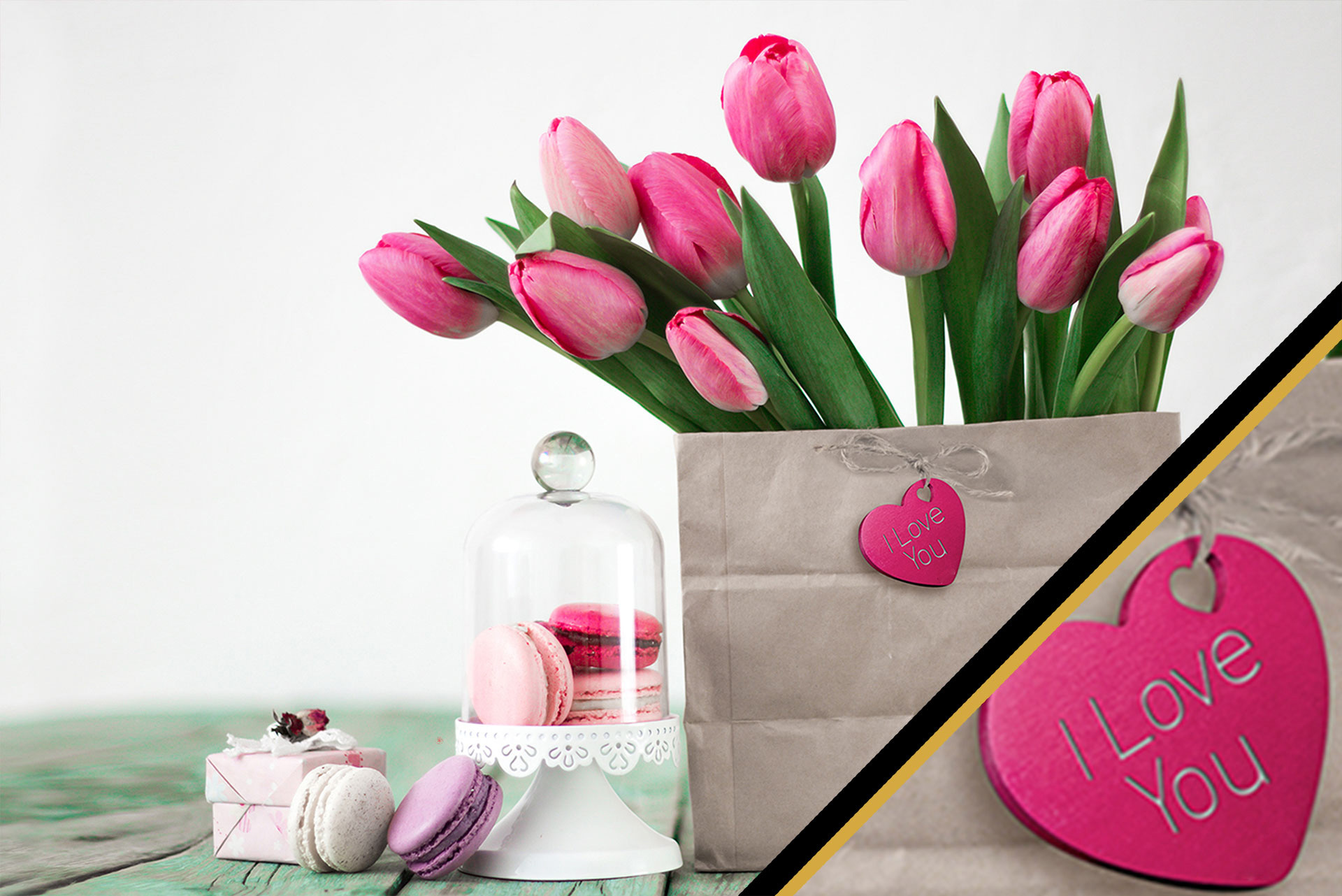 bouquet of flowers, pastries and gift with a personalized heart shape charm