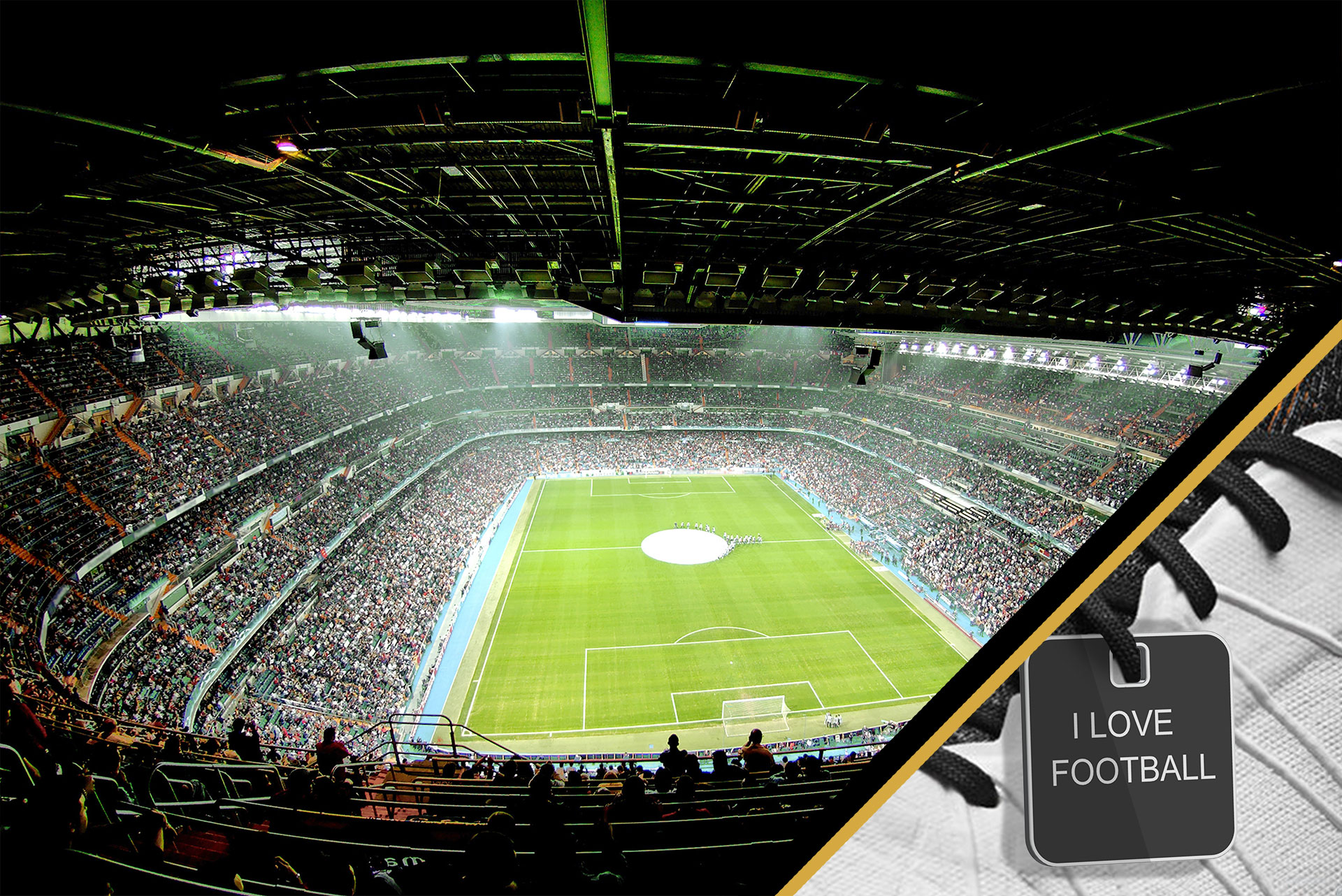 Overview of a football stadium on the evening of a competition with a personalized keyring