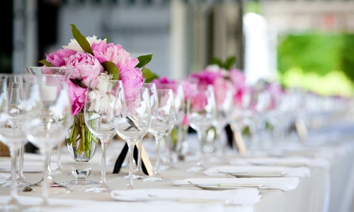 General view of a table set for an event