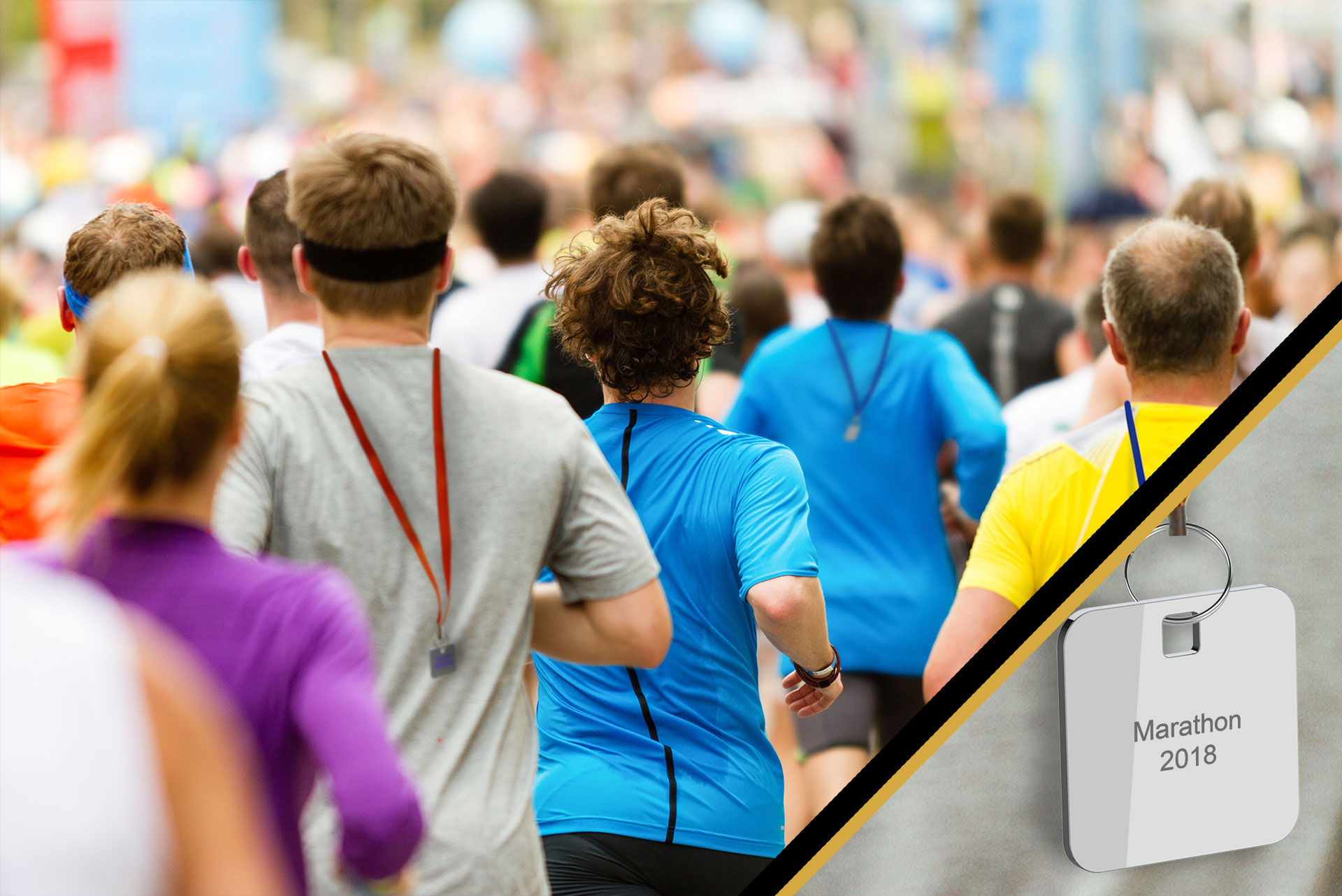 peloton of marathon runners wearing an ID tag around their neck with a focus on a personalized ID tag