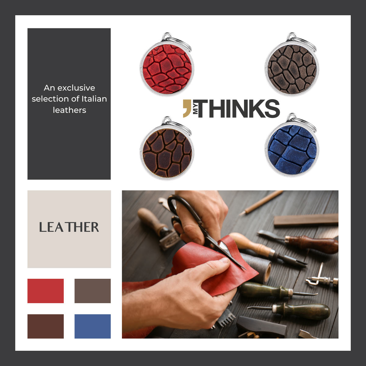 Toscanian leather on antique silver zamak leather gifts collection color chart with 4 circle gifts blue, red, brown and light brown