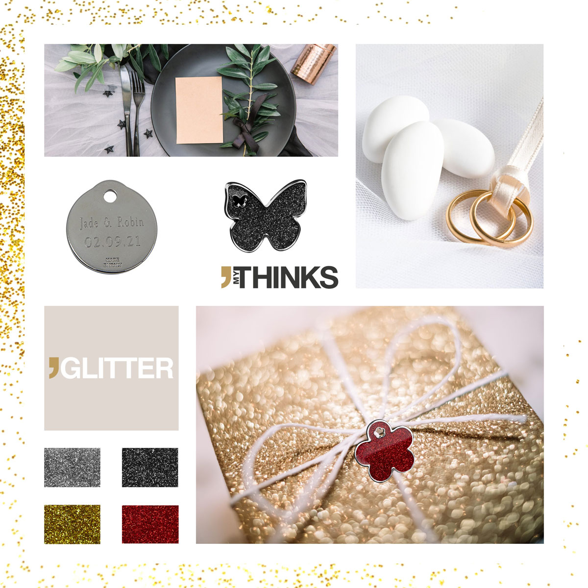 Enamelled chromed and golden Glitter gifts collection color chart with round chromed medal personalized with diamond engraving and butterfly black glitter charm