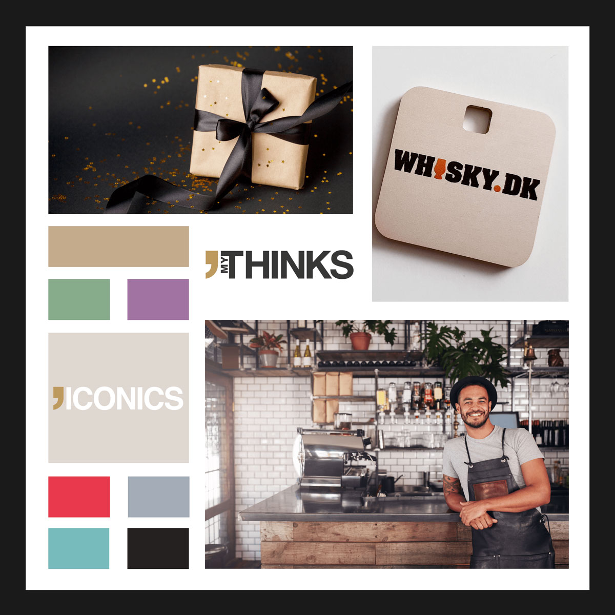 MyThinks Anodized aluminum Iconics gifts collection color chart with Whisky.dk charm golden square sample