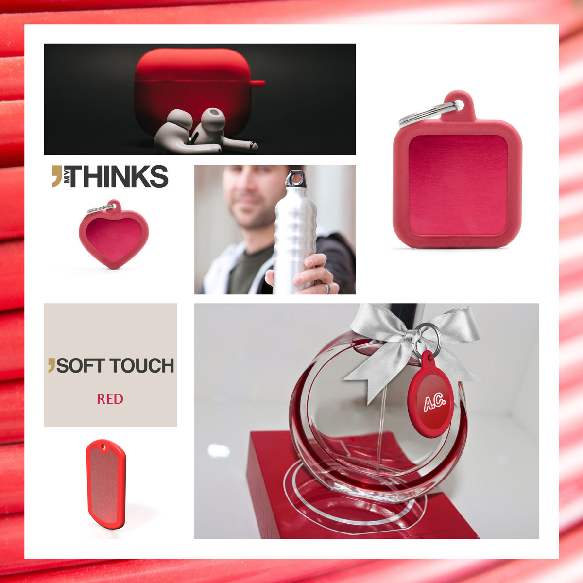 Mood board Soft touch collection gifts with red rubber braid on red anodized aluminum tags for the travel accesories and perfume and cosmetics market