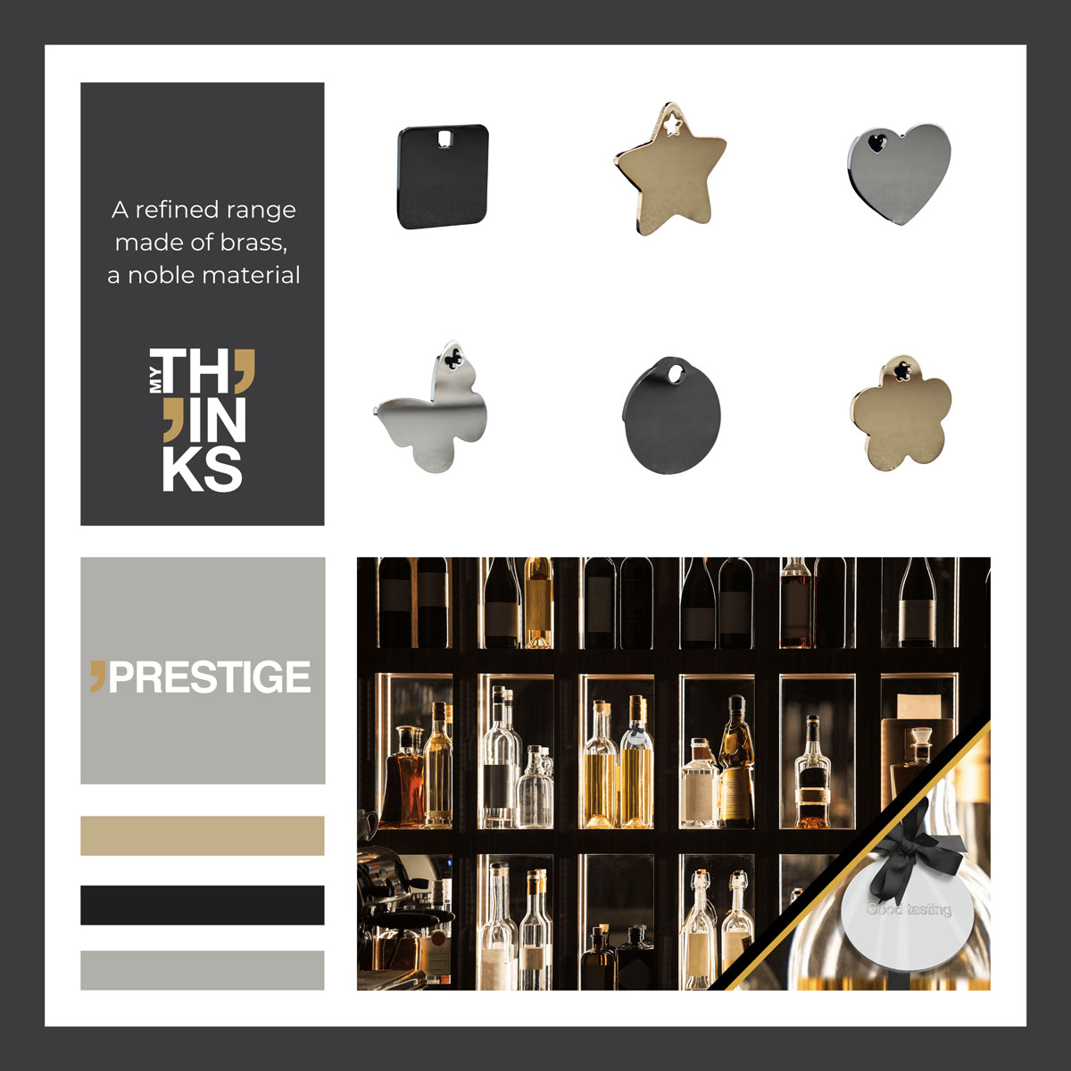 Coated brass Prestige gifts collection color chart with circle chromed charm tied around a wine bottle neck