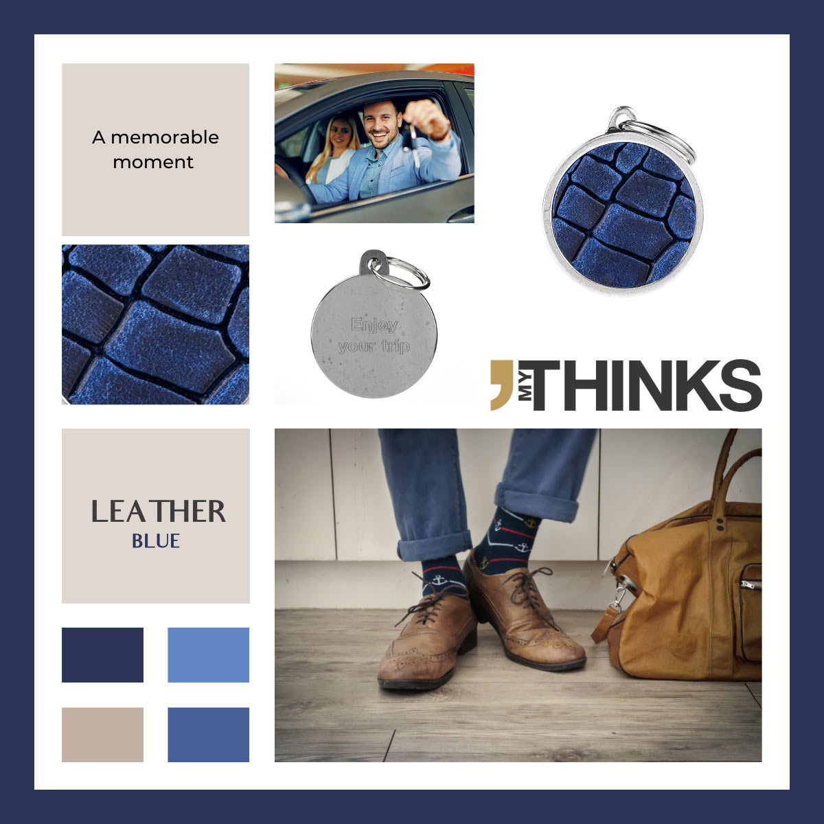 Mood board Leather collection gifts with blue leather tag personalized for the luggage and automotive market
