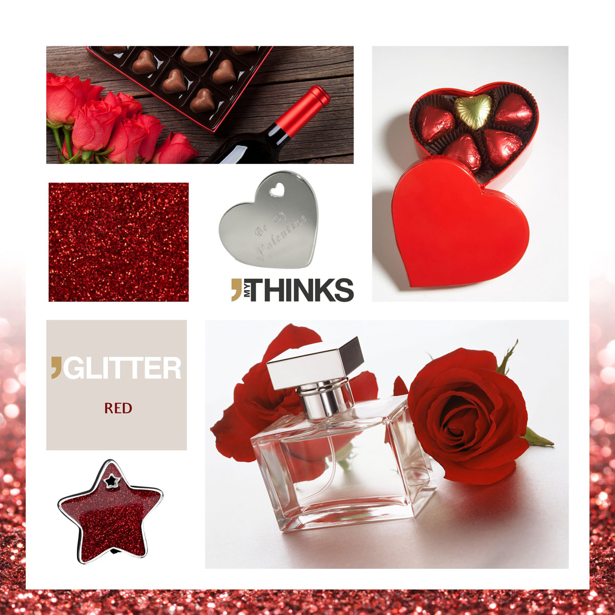 Mood board Glitter collection gifts with shiny red enamelling on chromed zamak tag personalized for the delicatessen and perfume market