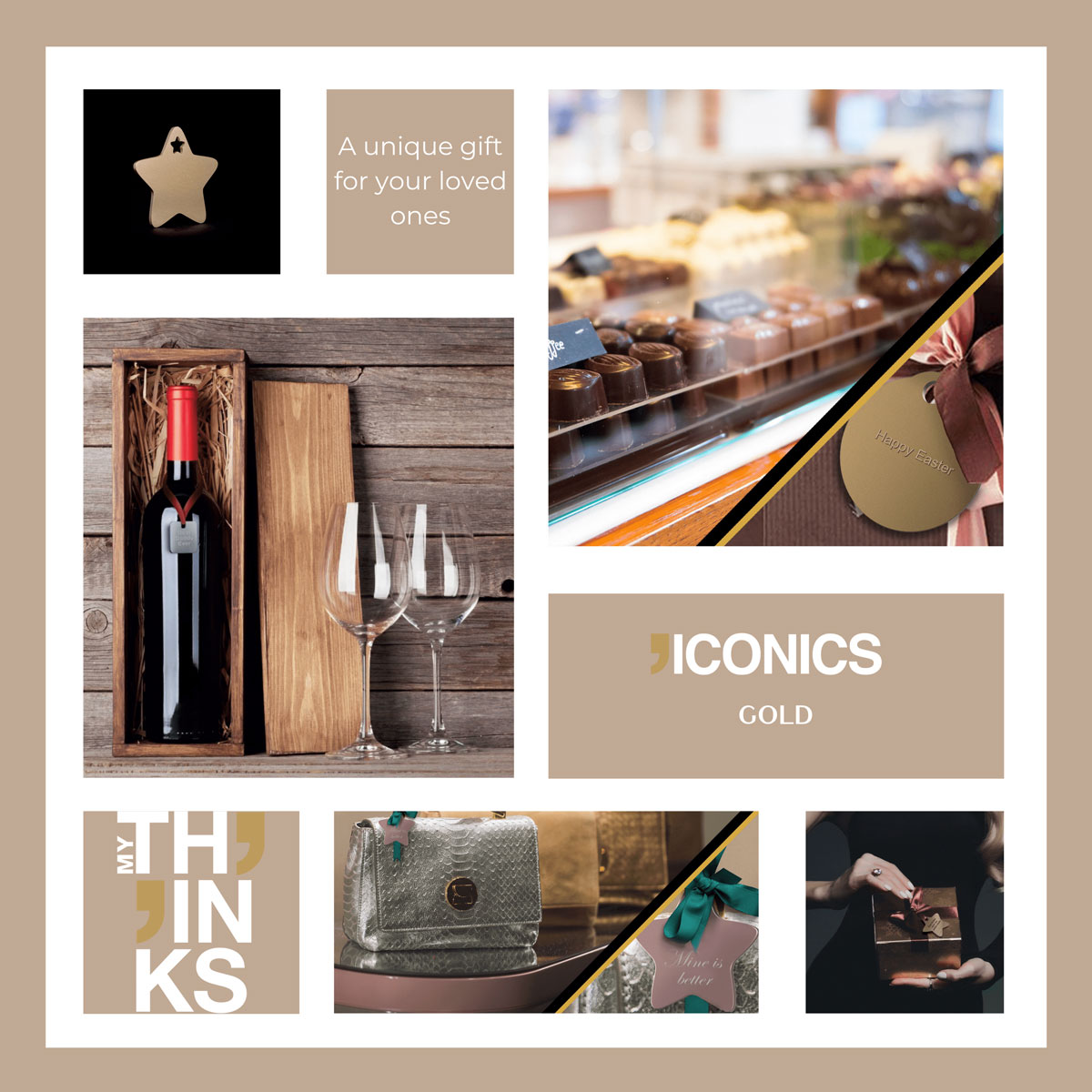 Mood board Iconics collection gifts in gold color tag personalized for the chocolaterie and wineries markets