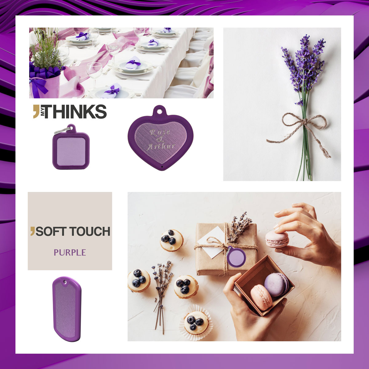 Mood board Soft touch collection gifts with purple rubber braid on purple anodized aluminum charm for the wedding and personal events market