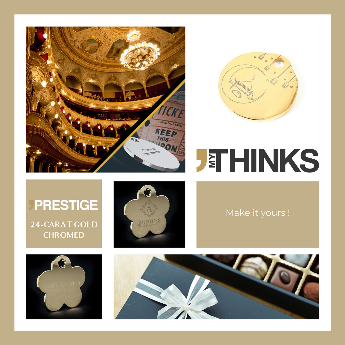 Mood board Prestige collection gifts in 24 CT Golden brass tag personalized for the culture and delicatessen market