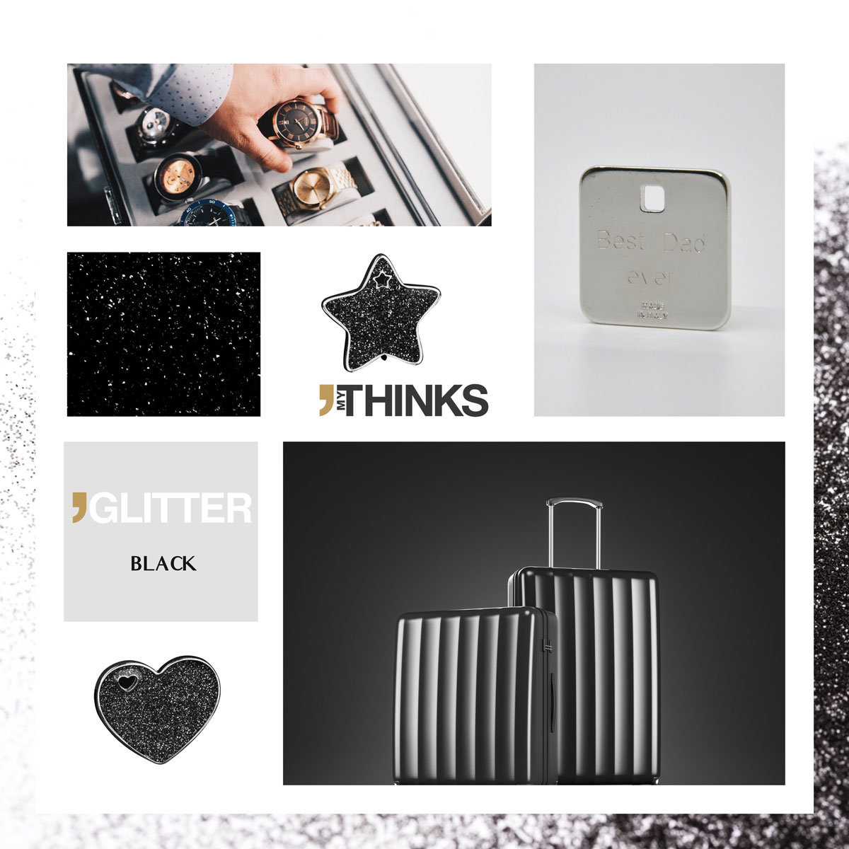 Mood board Glitter collection gifts with shiny black enamelling on chromed zamak medal personalized for the luxury good and lugagge and travel accessories market