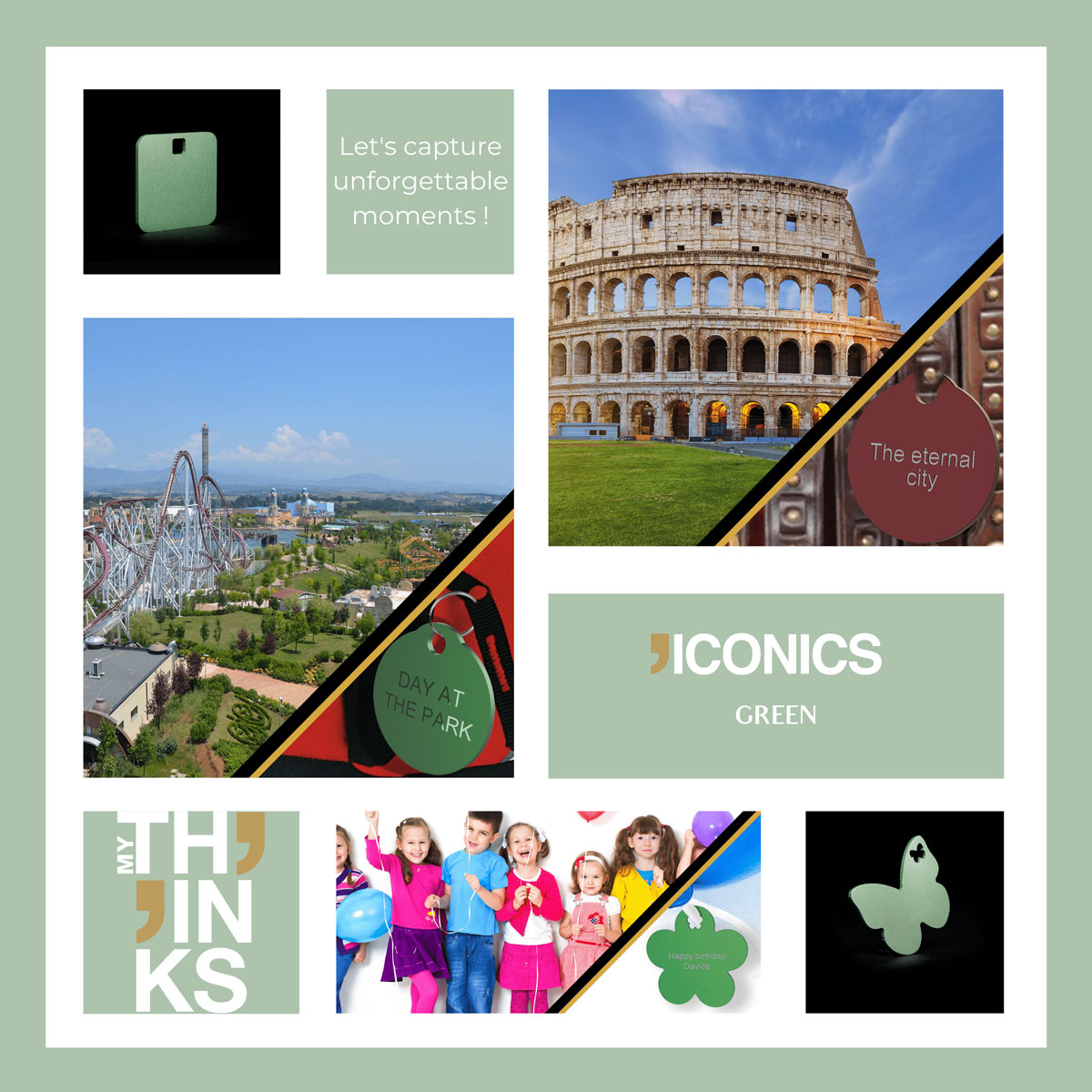 Mood board Iconics collection gifts in green color medal personalized for the culture and entertainment market