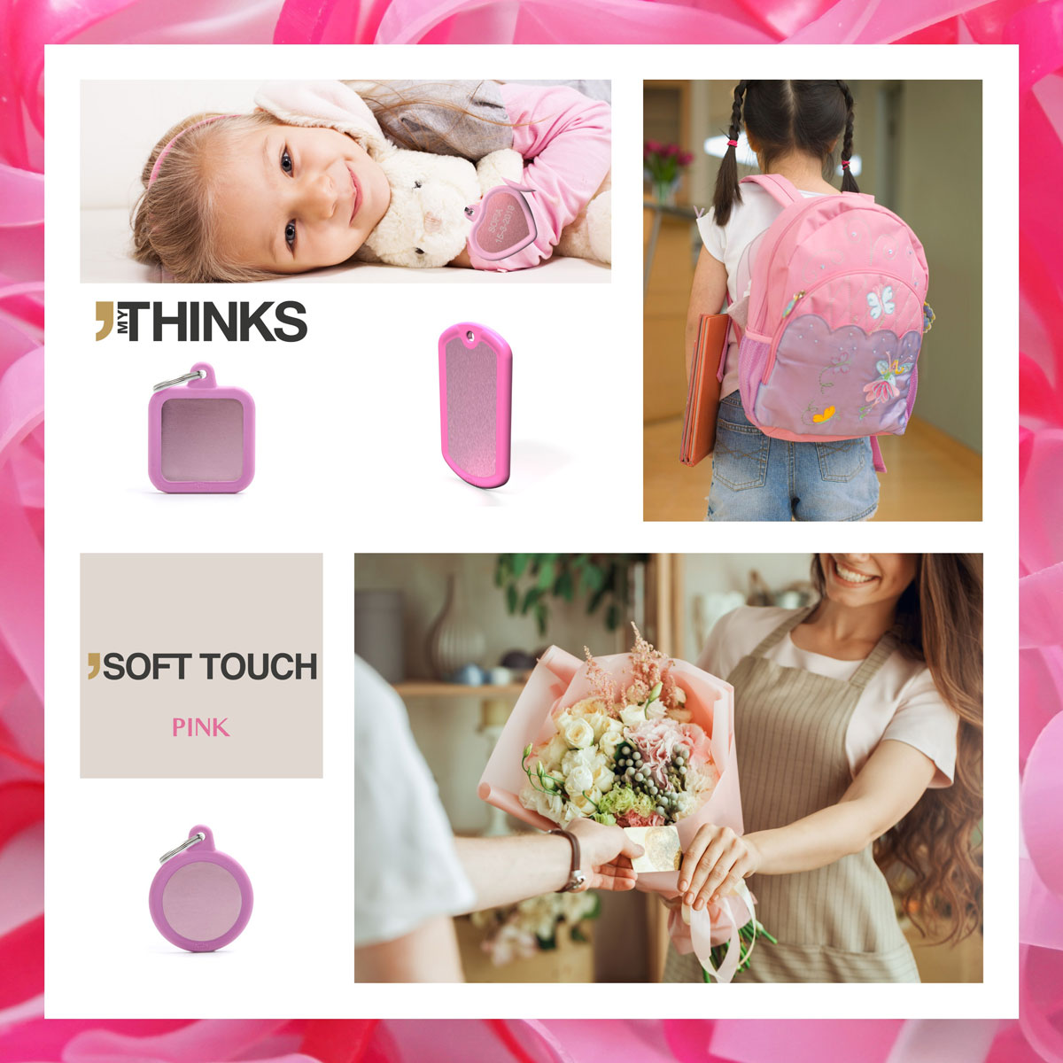 Mood board Soft touch collection gifts with pink rubber braid on pink anodized aluminum charm for the luggage and personal gift market