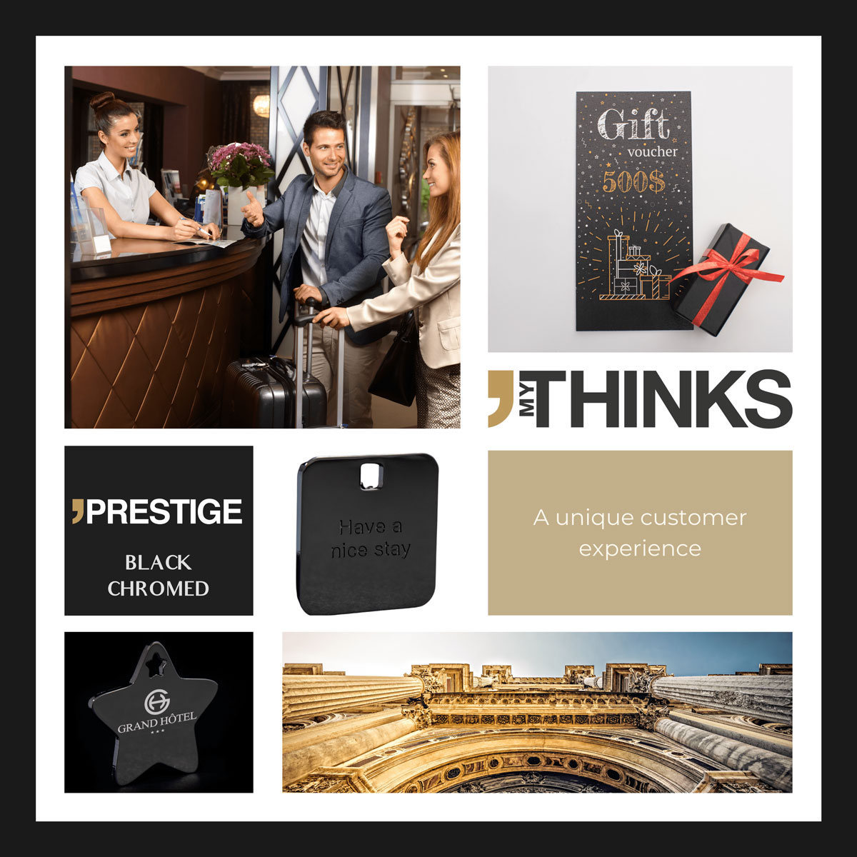 Mood board Prestige collection gifts chromed black medal personalized for the culture and hospitality market