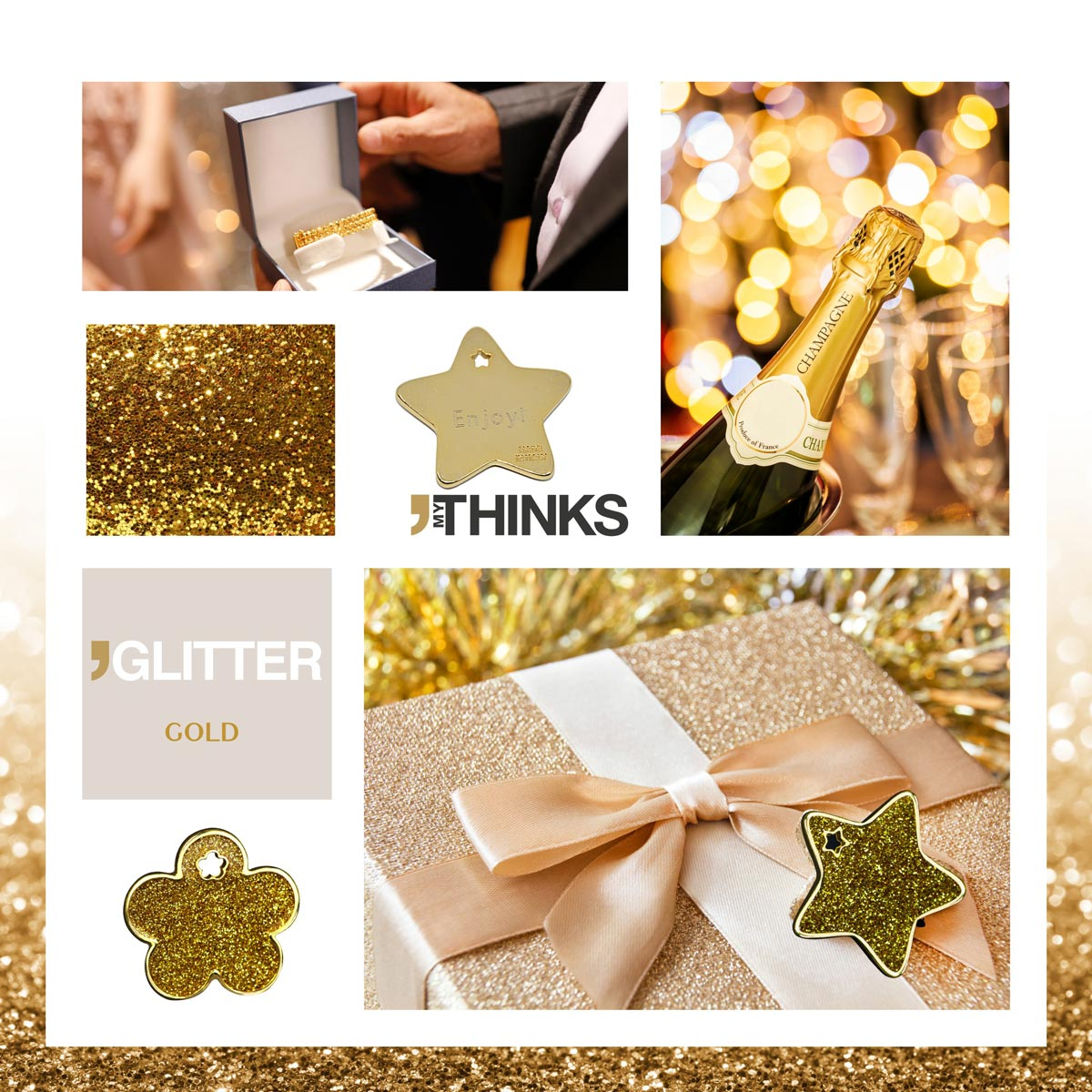 Mood board Glitter collection gifts with shiny golden enamelling on 24 CT Gold coated zamak charm personalized for the gift market