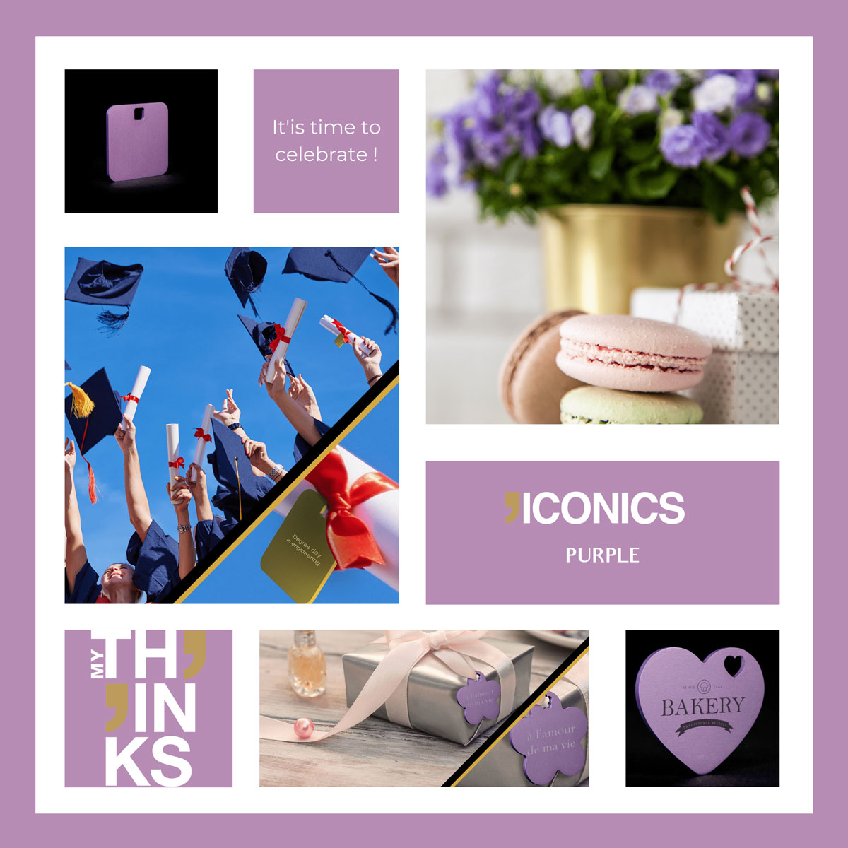 Mood board Iconics collection gifts in purple color tag personalized for the celebration market