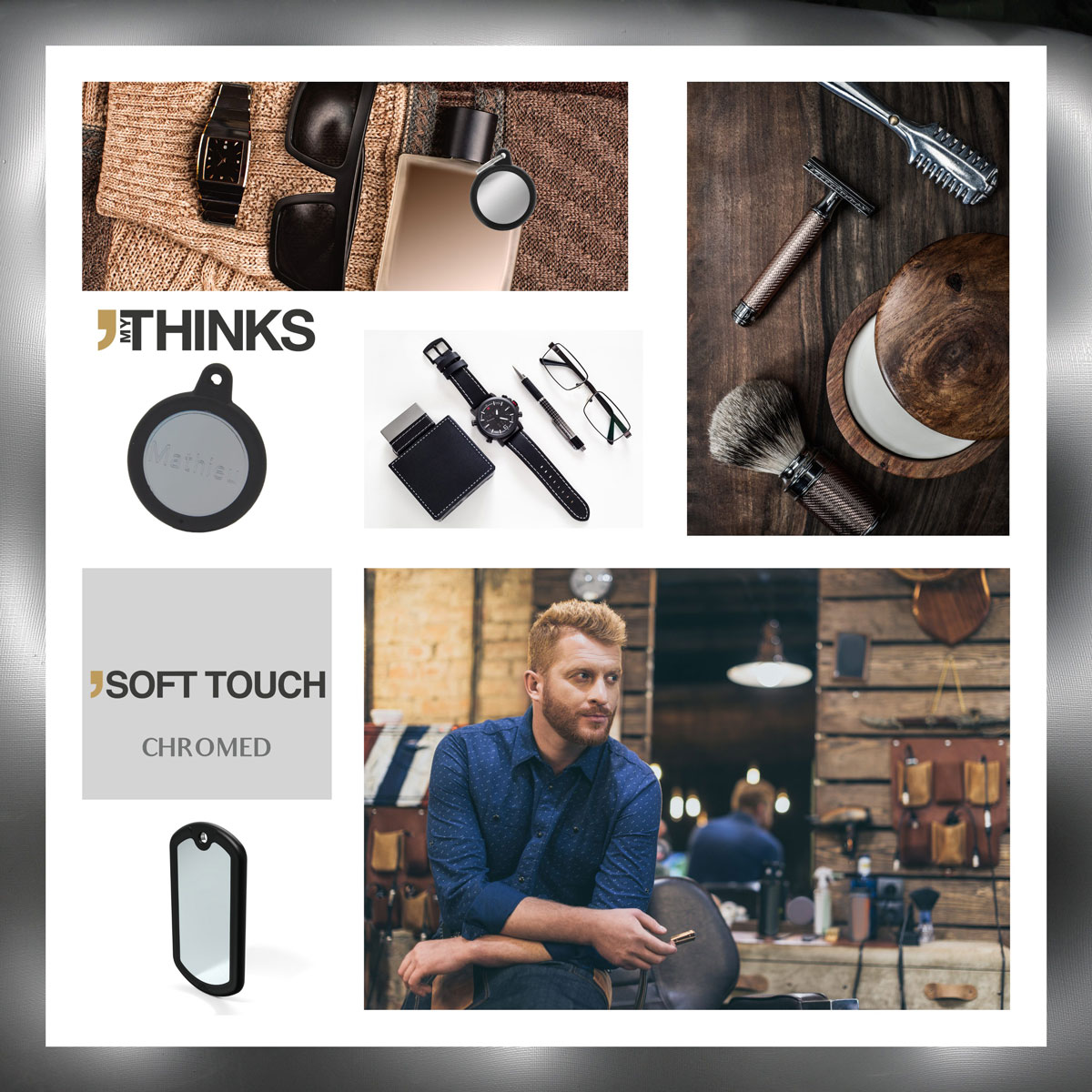 Mood board Soft touch collection gifts with black rubber braid on chromed brass charm for the fashion accessories market