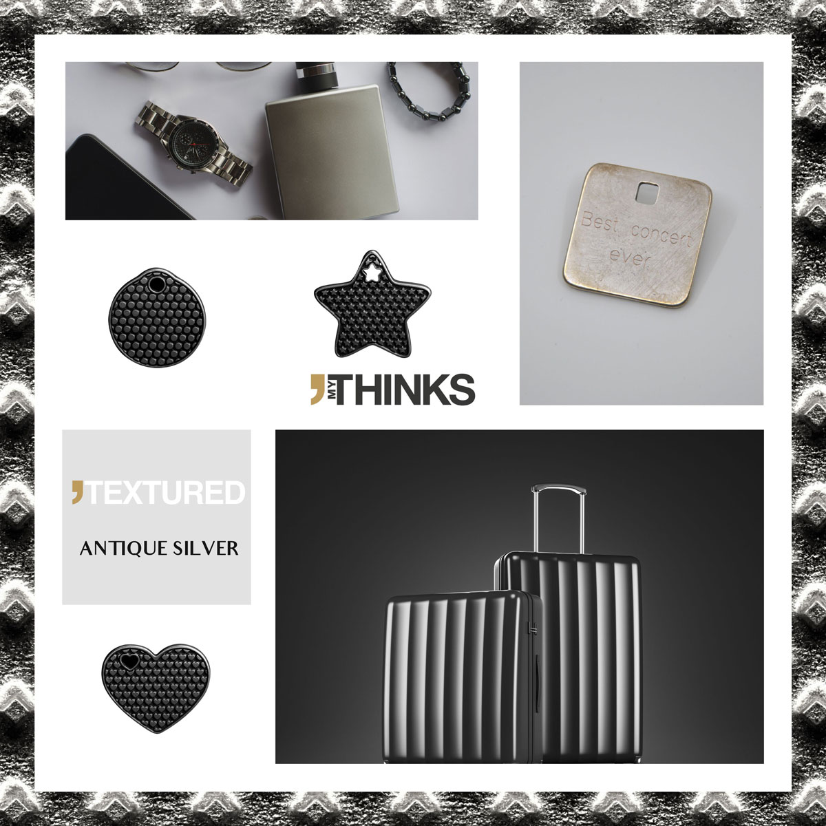 Mood board Textured collection gifts with Antique Silver finish on zamak medal personalized for perfume and luggage markets