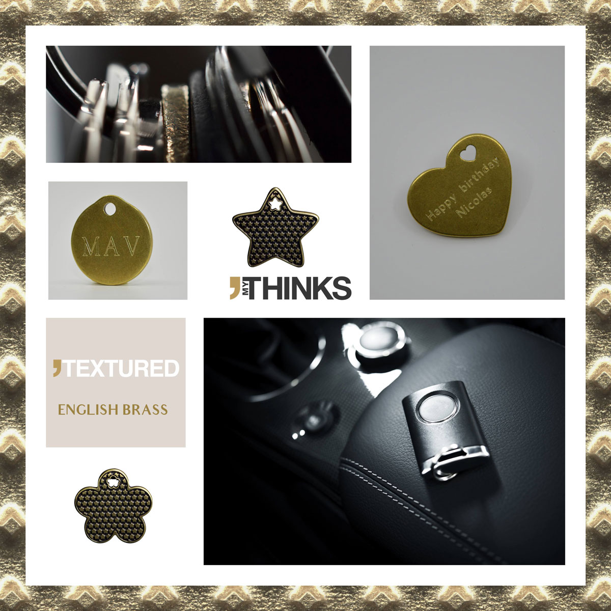 Mood board Textured collection gifts with English Brass finish on zamak charm personalized for the luxury car market