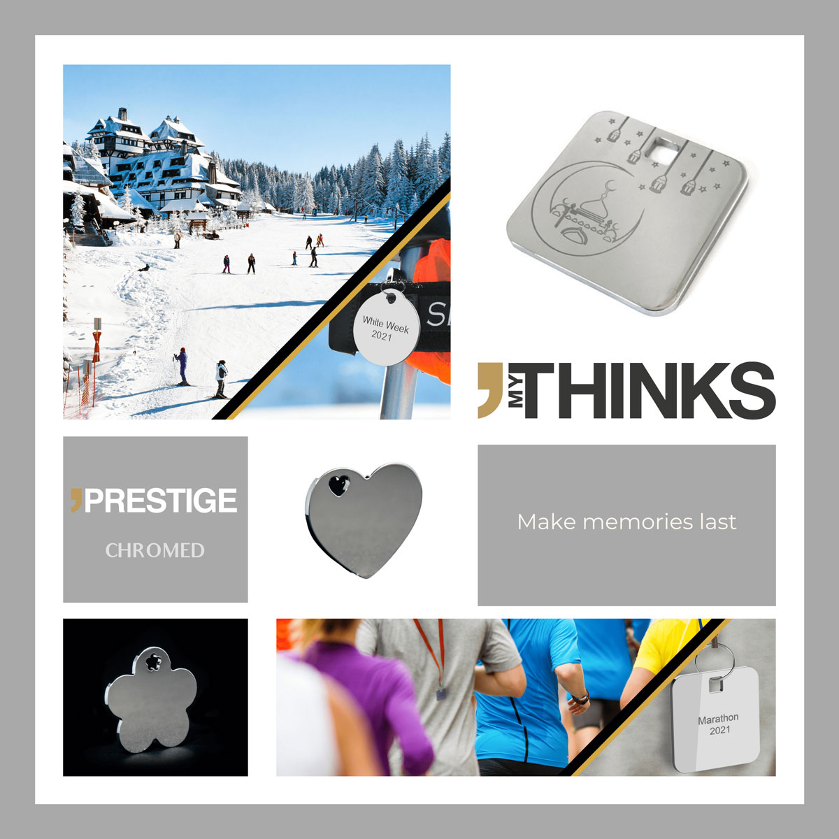 Mood board Prestige collection gifts chromed personalized charm for the sport and leasure market