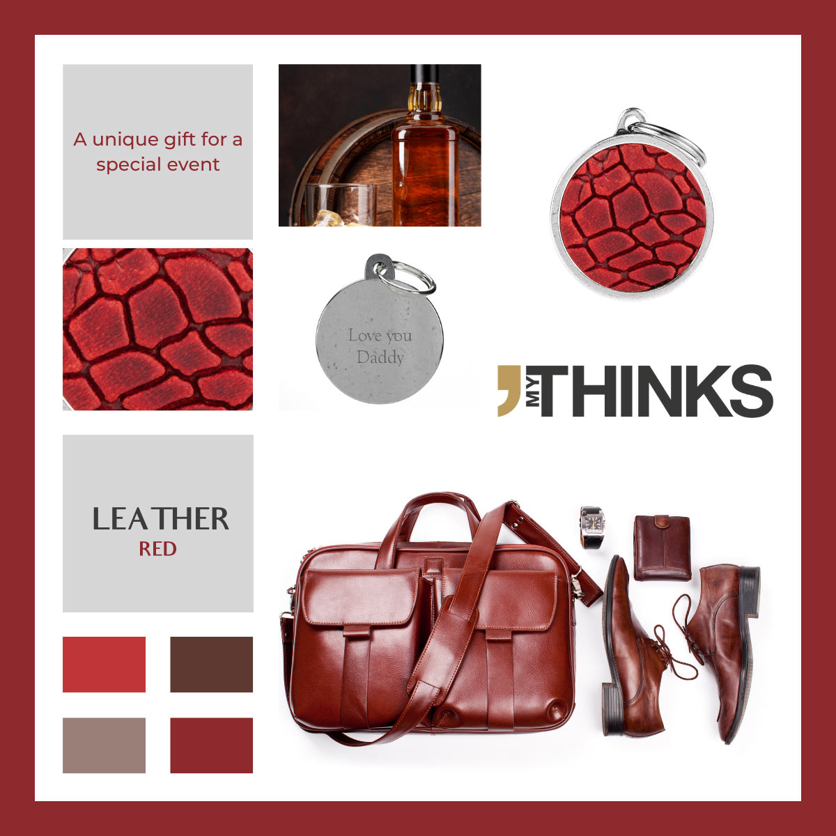 Mood board Leather collection gifts with red leather charm personalized for the perfume and travel accessories market