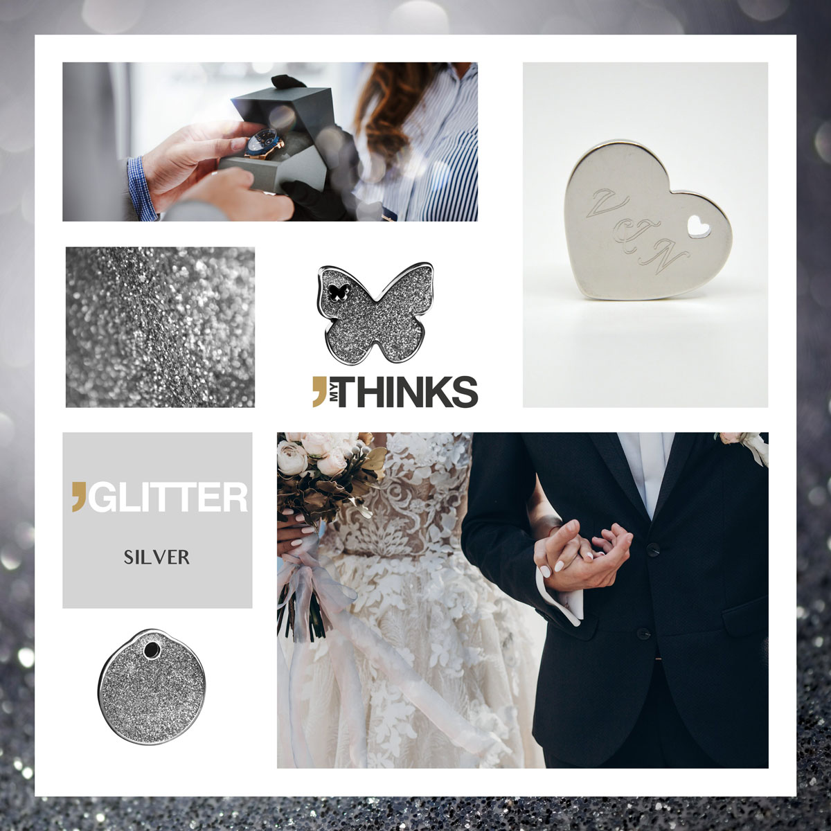 Mood board Glitter collection gifts with shiny silver enamelling on chromed zamak charm personalized for the wedding market