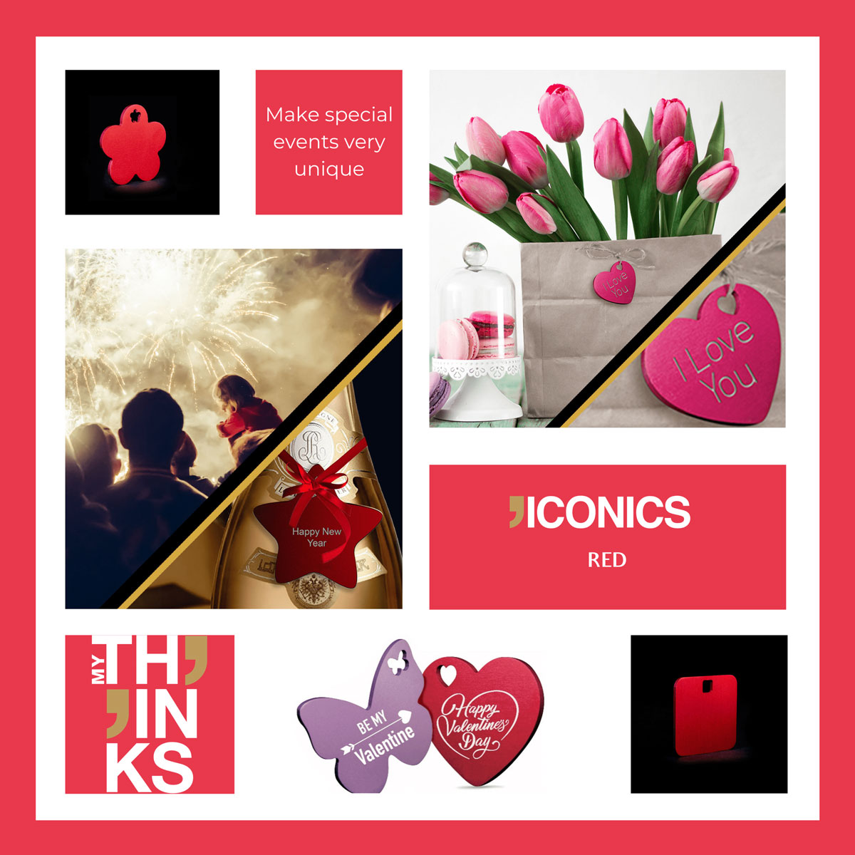 Mood board Iconics collection gifts in red color medal personalized for the celebration and personal events markets