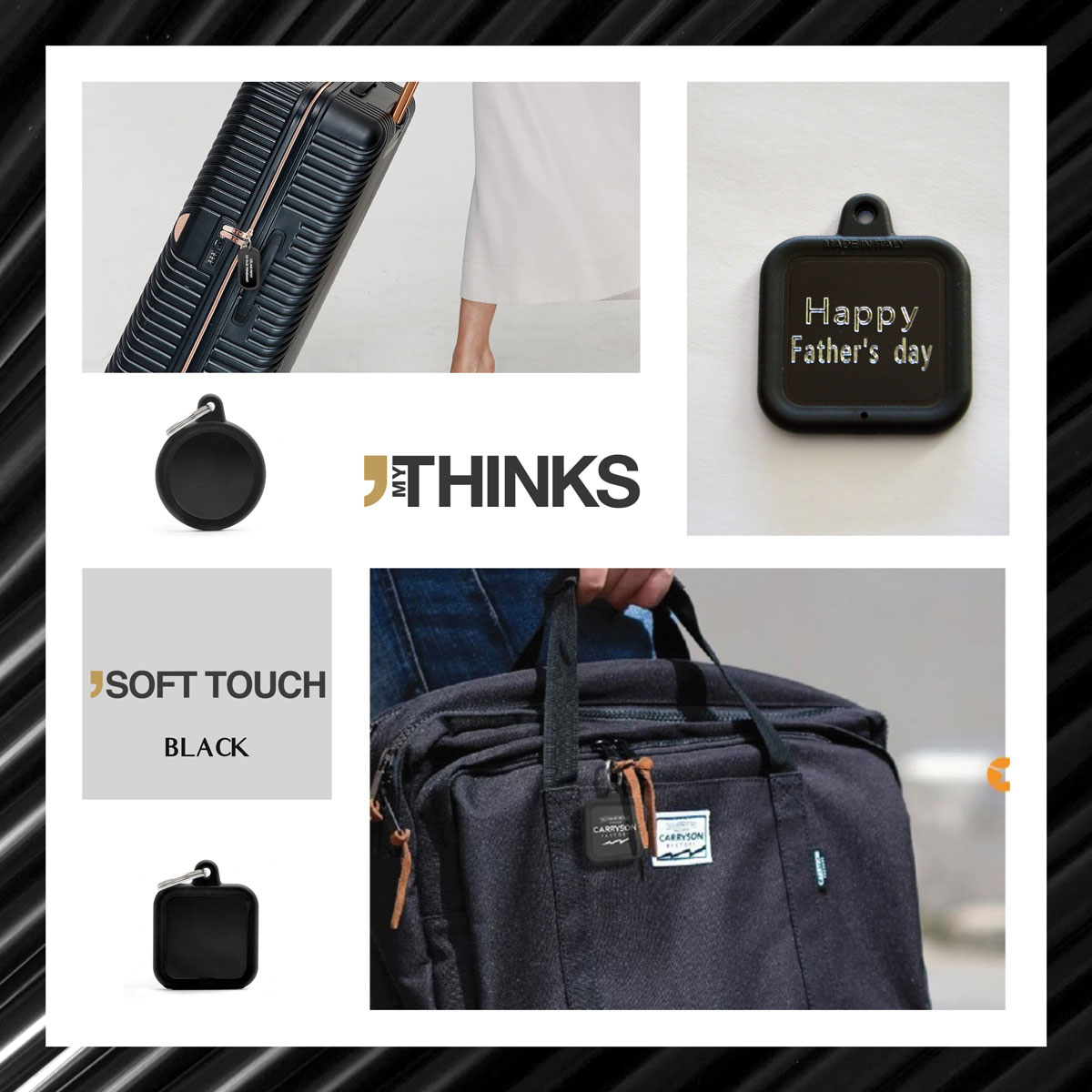 Mood board Soft touch collection gifts with black rubber braid on black anodized aluminum medal for the luggage and travel accesories market