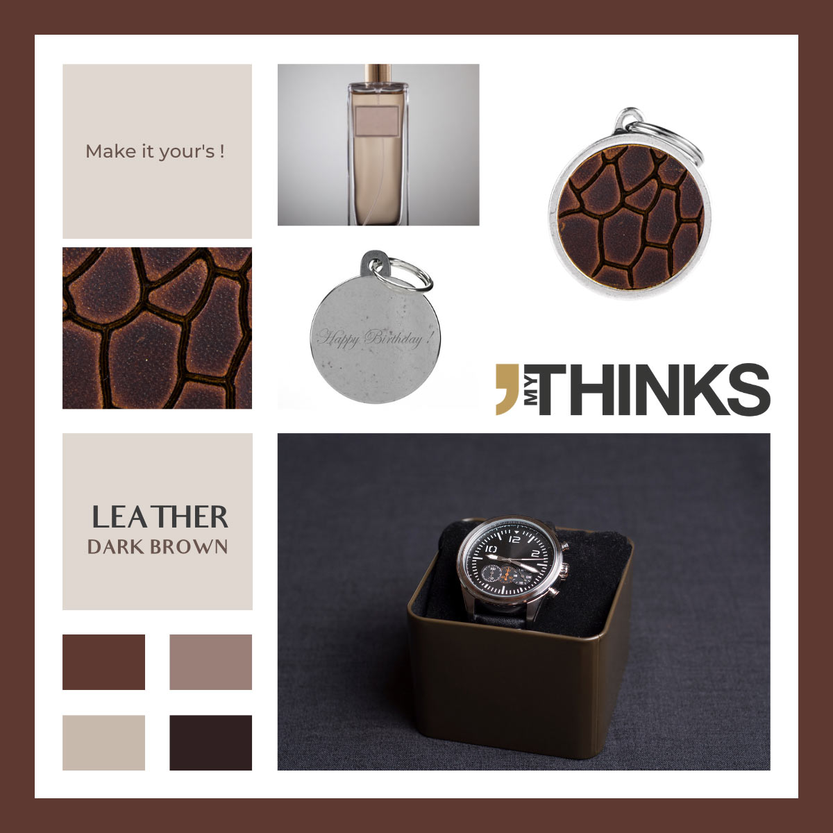 Mood board Leather collection gifts with dark brown leather charm personalized for the perfume and jewellery market