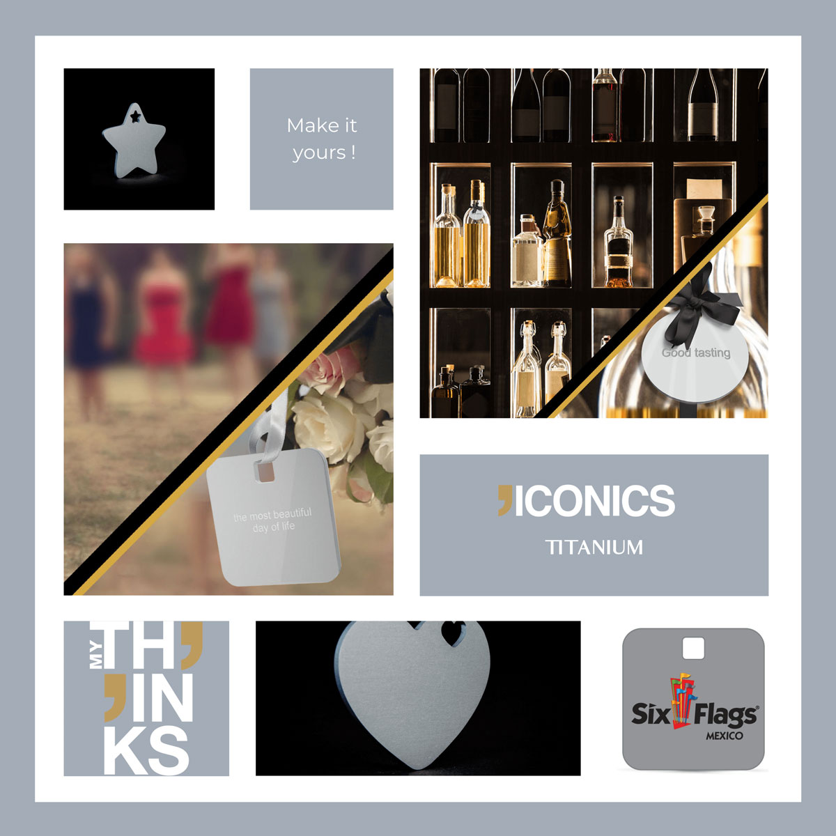 Mood board Iconics collection gifts in titanium color charm personalized for the wine and spirit market