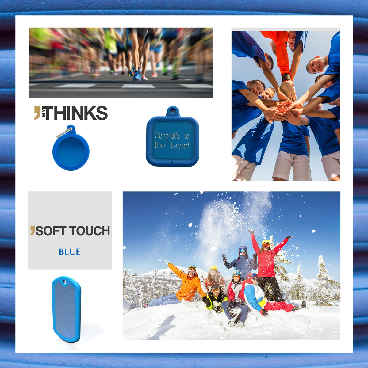 Mood board Soft touch collection gifts with blue rubber braid on blue anodized aluminum medal for the sport and vacation market