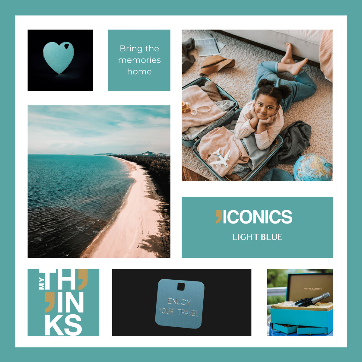 Mood board Iconics collection gifts in light blue color tags personalized for the travel and gift market