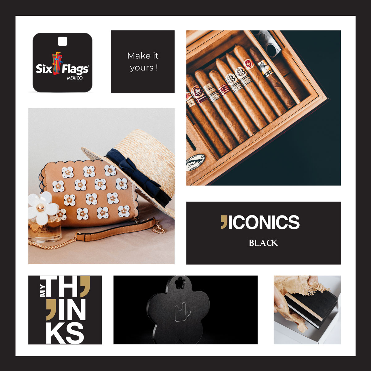 Mood board Iconics collection gifts in black color charm personalized for the amusement park and leather good market