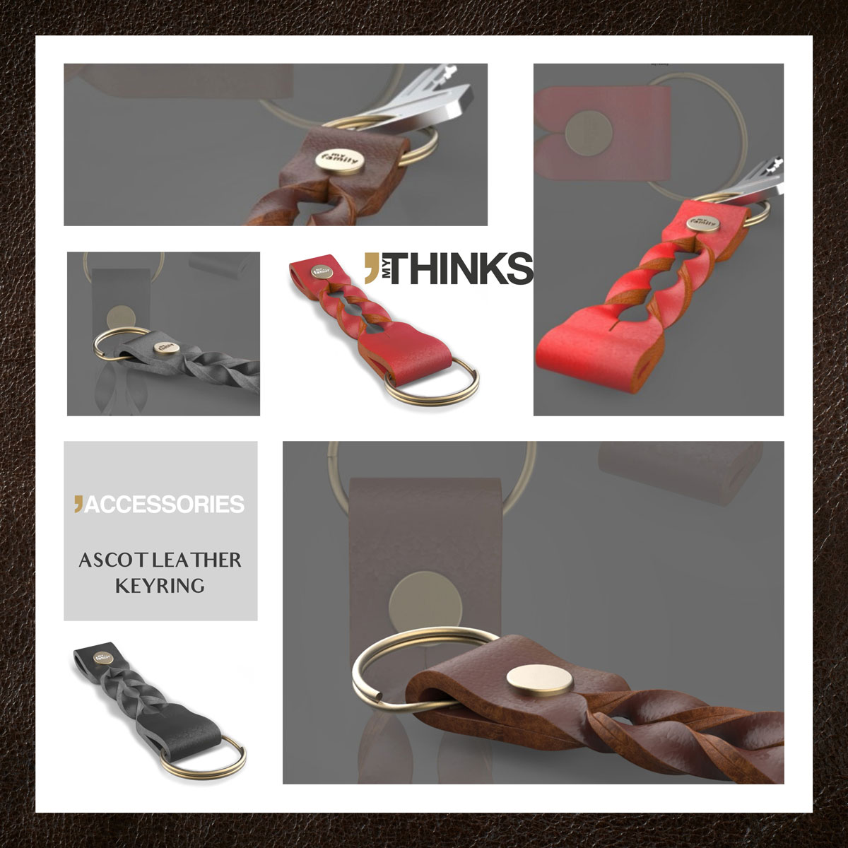 Mood board Keyring collection in geniune italian twisted leather in black, red and brown
