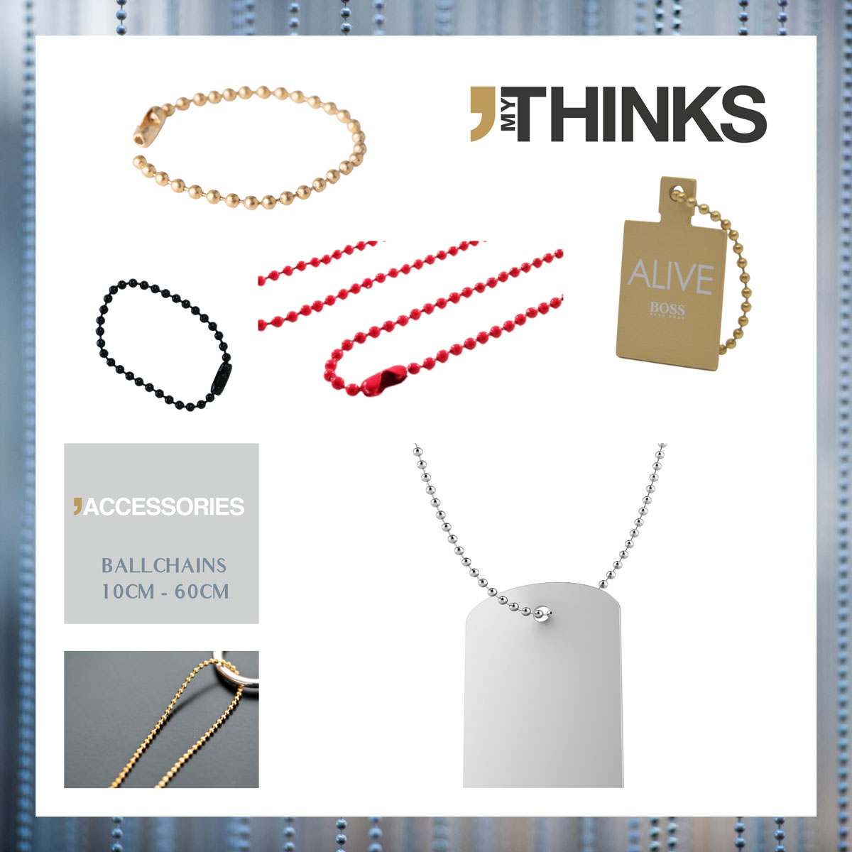 Red, black, silver and gold ball chains alone or attached on charms
