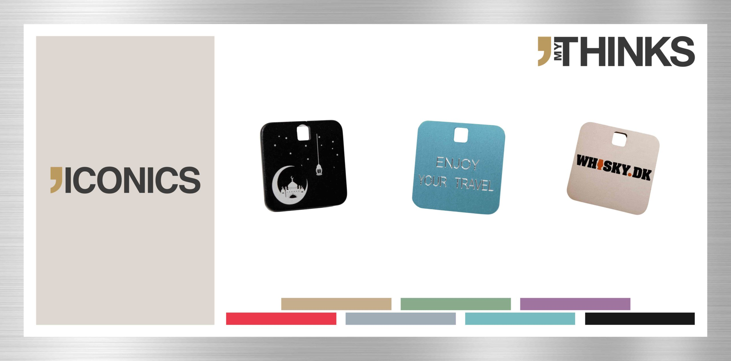 3 square personalized gifts in anodized aluminum from Iconics collection : Black tales of Arabian night medal / laser marking ; Blue enjoy your travel tag / diamond engraving ; gold whiskey dk charm / digital printing