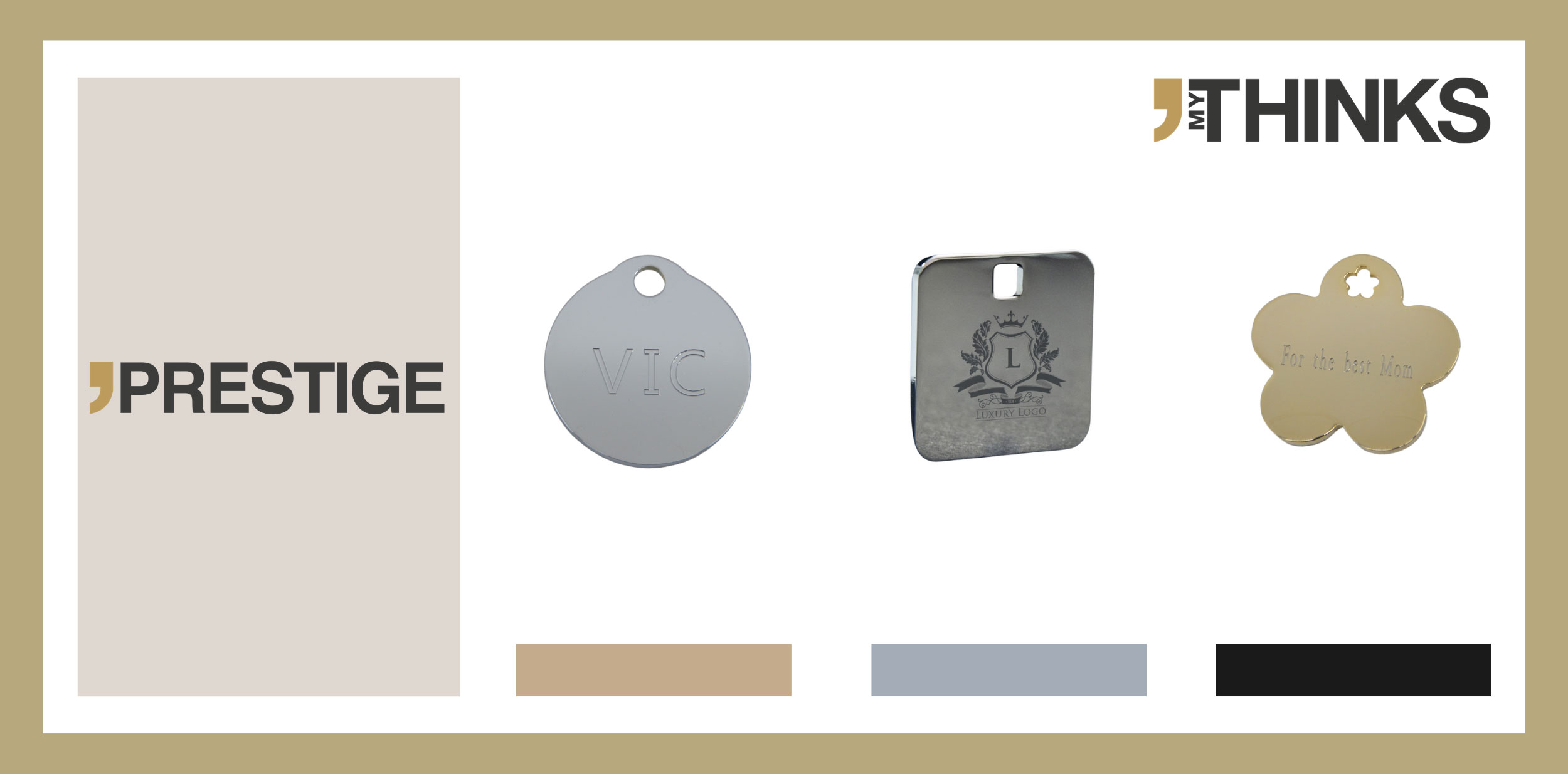 3 personalized gifts in coated brass from Prestige collection : round chrome with Monogram engraved medal, square chromed with logo engraved wih laser tag, flower 24 CT golf with text message engraved charm