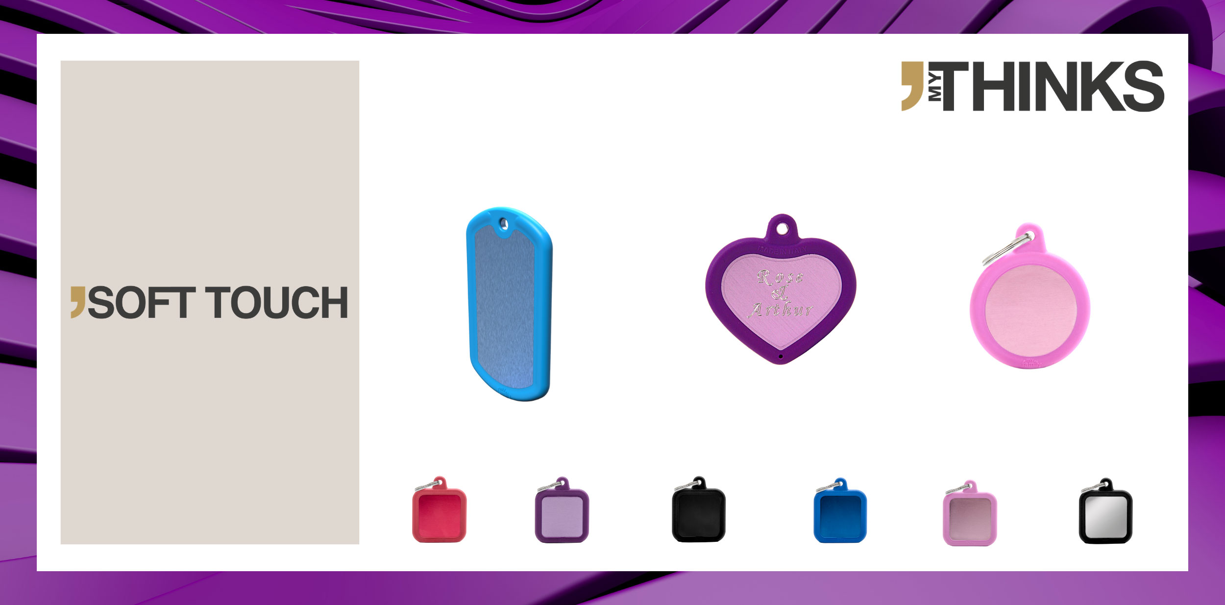 3 personalized gifts in aluminum and brass with rubber fusioned braid from Soft Touch collection : light blue luggage tag, purple heart charm personalized with diamond engraving, pink circle medal